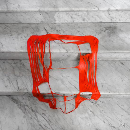 Etude. R 004, Red abstract skin, Lacération de cuir rouge, Structure de cuir rouge