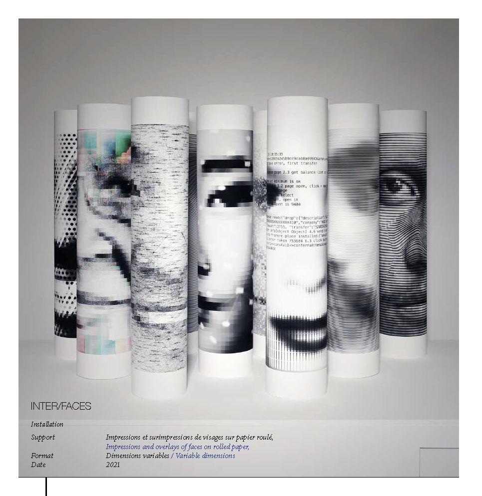 INTER/FACES  Installation Support, Impressions et surimpressions de visages sur papier roulé, Impressions and overlays of faces on rolled paper,